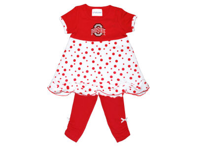 Ohio State Buckeyes NCAA Toddler Girls Polka Dot Shirt & Leggings Set