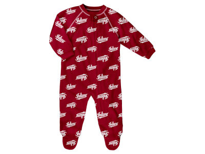 Indiana Hoosiers Outerstuff NCAA Newborn All-Over Logo Raglan Full Zip Coverall