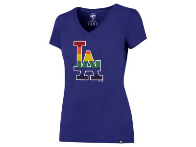 Los Angeles Dodgers '47 MLB Women's Pride Splitter V-Neck T-Shirt