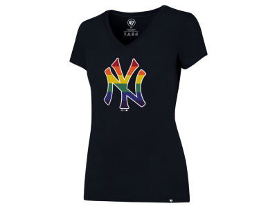 New York Yankees '47 MLB Women's Pride Splitter V-Neck T-Shirt