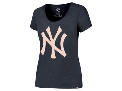New York Yankees '47 MLB Women's Club Scoop Pink Logo T-Shirt