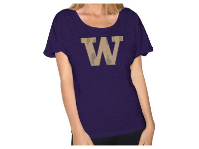 Washington Huskies Retro Brand NCAA Women's Slub Rolled Sleeve T-Shirt