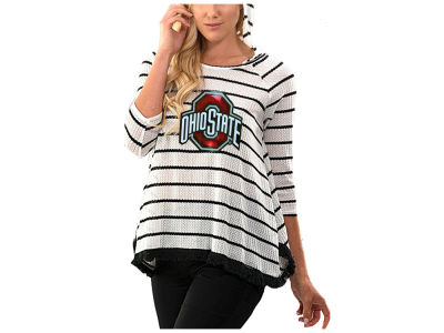 Ohio State Buckeyes Gameday Couture NCAA Women's Hooded Stripe Long Sleeve Top