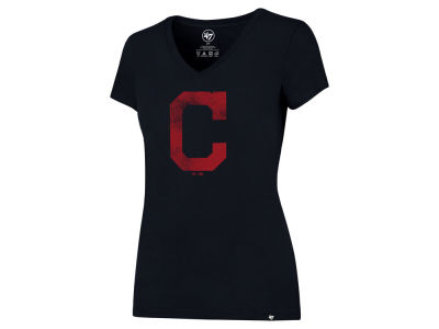 Cleveland Indians '47 MLB Women's Primary Distressed Logo V Neck T-shirt