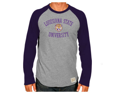 LSU Tigers Retro Brand NCAA Men's Team Logo Raglan T-shirt