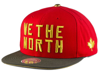Toronto Raptors We The North  Mitchell & Ness Hardwood Classic Gold Tip Snapback Cap