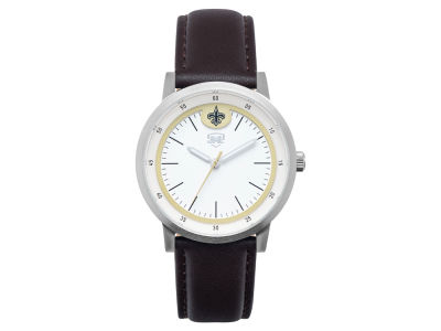 New Orleans Saints Jack Mason Leather Strap Watch
