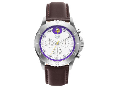 Minnesota Vikings Jack Mason Men's Chronograph Leather Strap Watch