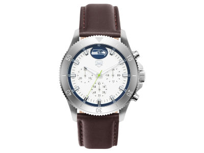 Seattle Seahawks Jack Mason Men's Chronograph Leather Strap Watch