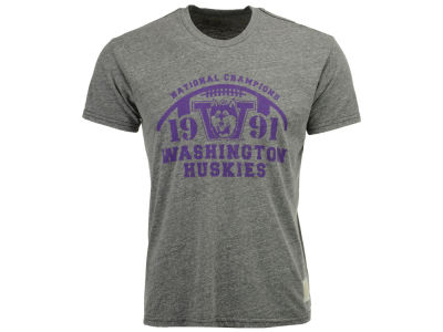 Washington Huskies Retro Brand NCAA Men's 91 National Champ Tri-Blend T-Shirt
