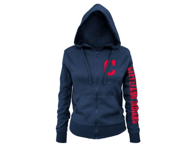 Cleveland Indians 5th & Ocean MLB Women's Glitter Hooded Full Zip Sweatshirt