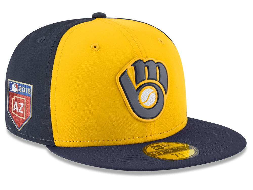 b256ccb493c Milwaukee Brewers New Era 2018 MLB Spring Training Prolight 59FIFTY Cap