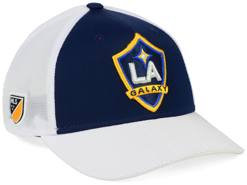 LA Galaxy adidas MLS Authentic Mesh Adjustable Cap  26426437c716