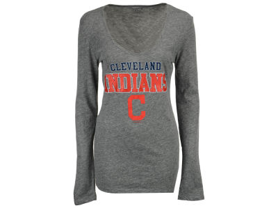 Cleveland Indians 5th & Ocean MLB Women's Glitter Long Sleeve T-Shirt