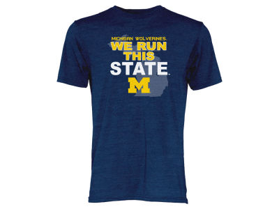 Michigan Wolverines Blue 84 NCAA Men's We Run This State Tri-Blend T-Shirt
