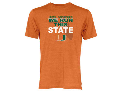 Miami Hurricanes Blue 84 NCAA Men's We Run This State Tri-Blend T-Shirt