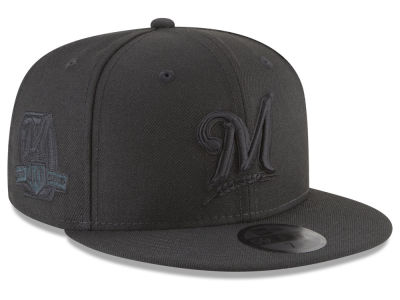 Milwaukee Brewers New Era MLB Blackout Ultimate Patch Collection 59FIFTY Cap