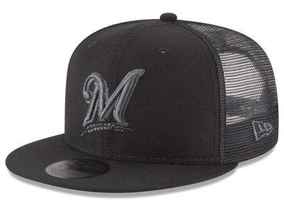 Milwaukee Brewers New Era MLB Blackout Mesh 9FIFTY Snapback Cap