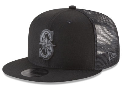 Seattle Mariners New Era MLB Blackout Mesh 9FIFTY Snapback Cap