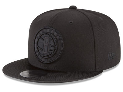 Brooklyn Nets New Era NBA Blackout Satin 9FIFTY Snapback Cap