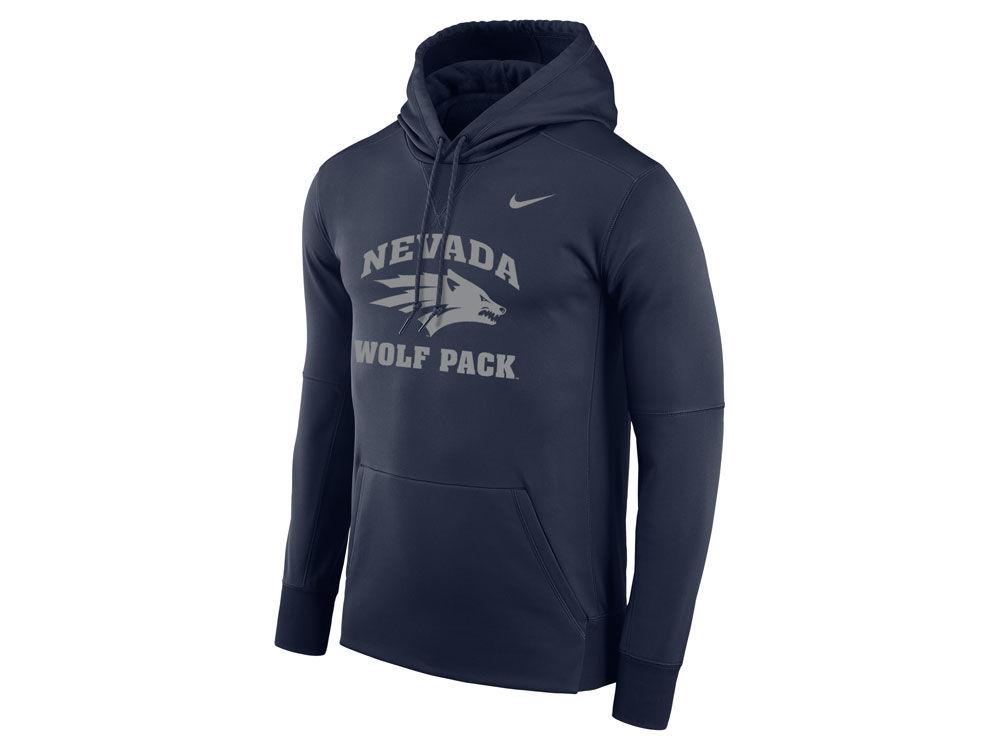nevada wolf pack nike ncaa mens therma logo hoodie