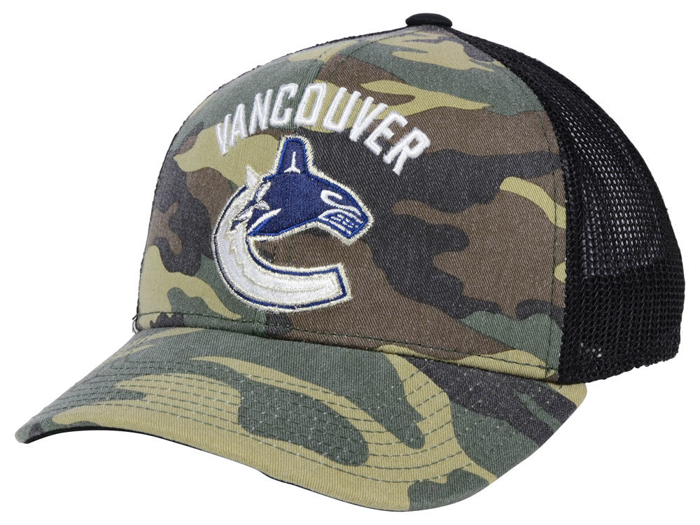314ce3b4665 Vancouver Canucks adidas NHL Camo Trucker Cap