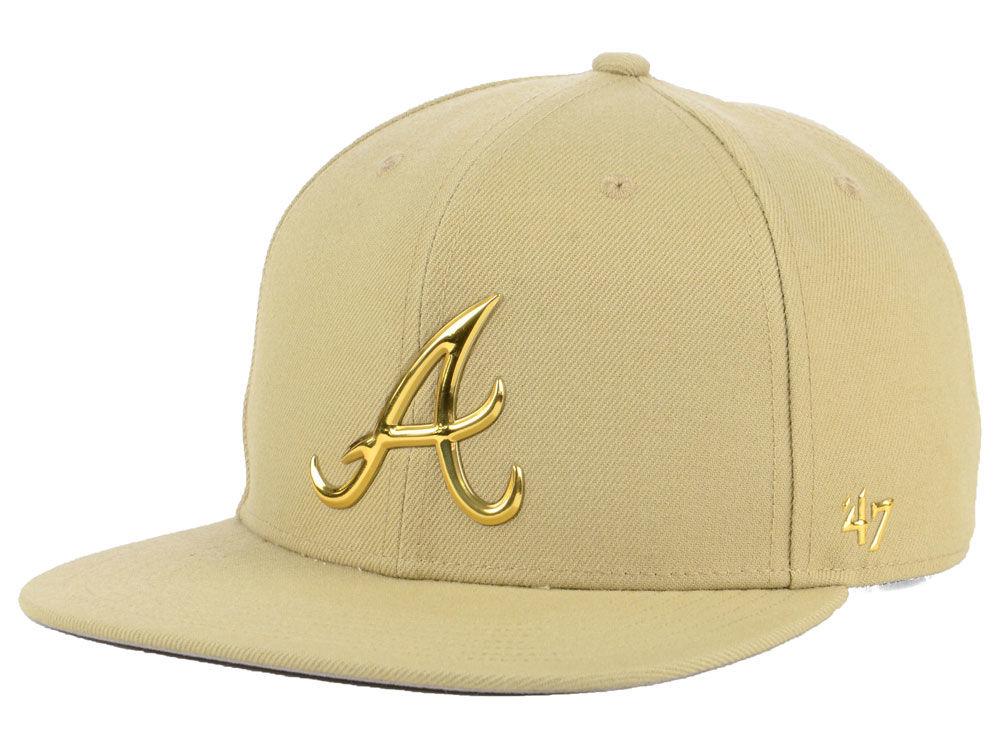 Atlanta Braves  47 MLB Khaki Snapback Cap  a16a3b395d1