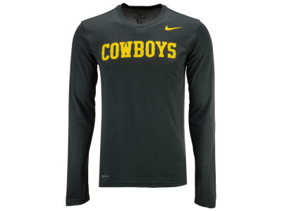 Wyoming Cowboys Nike NCAA Men's Dri-Fit Legend Wordmark Long Sleeve T-shirt