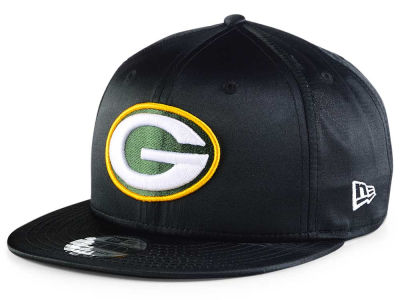 Green Bay Packers New Era NFL Black Satin 9FIFTY Snapback Cap