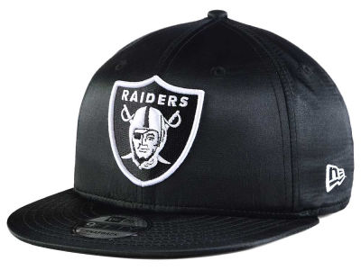 Oakland Raiders New Era NFL Black Satin 9FIFTY Snapback Cap