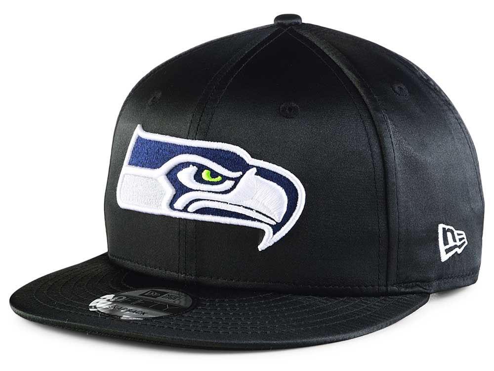 Seattle Seahawks New Era NFL Black Satin 9FIFTY Snapback Cap  5ac46bb825c