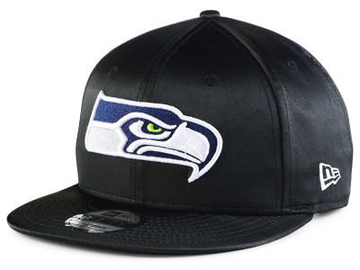 Seattle Seahawks New Era NFL Black Satin 9FIFTY Snapback Cap