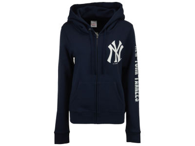 New York Yankees MLB Women's Glitter Hooded Full Zip Sweatshirt