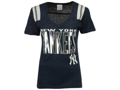 New York Yankees MLB Women's Foil Shoulder Stripe T-Shirt