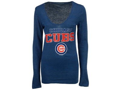 Chicago Cubs 5th & Ocean MLB Women's Glitter Long Sleeve T-Shirt