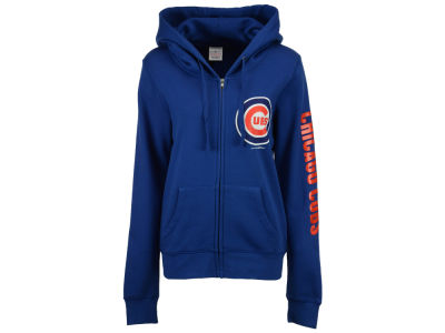 Chicago Cubs 5th & Ocean MLB Women's Glitter Hooded Full Zip Sweatshirt