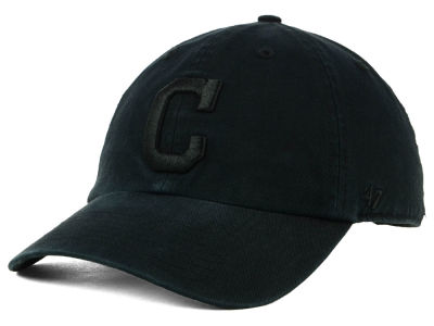 Cleveland Indians '47 MLB Black on Black CLEAN UP Cap