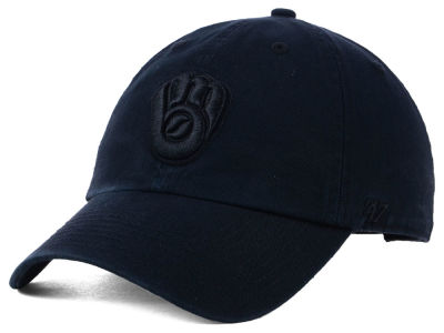 Milwaukee Brewers '47 MLB Black on Black CLEAN UP Cap