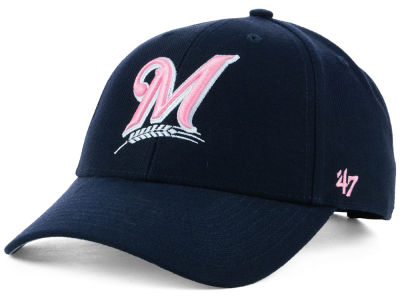 Milwaukee Brewers '47 MLB Navy Pink MVP Cap