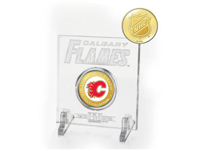 Calgary Flames Etched Acrylic w/ Coin