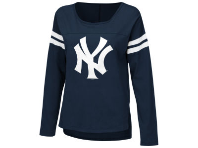 New York Yankees MLB Women's Free Agent Glitter Long Sleeve T-Shirt