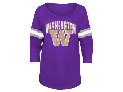 Washington Huskies 5th & Ocean NCAA Women's Stripe Sleeve Sweeper Shirt