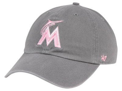 Miami Marlins '47 MLB Dark Gray Pink '47 CLEAN UP Cap