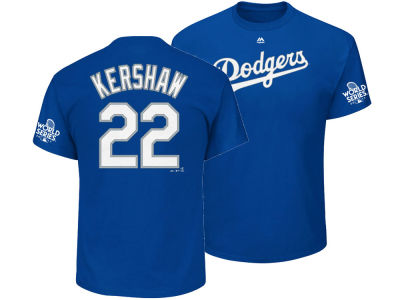 Los Angeles Dodgers Clayton Kershaw Majestic 2017 MLB Men's World Series Patch Official Player T-shirt