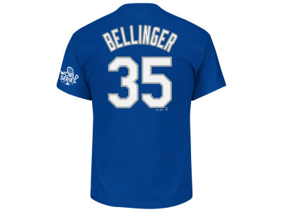 Los Angeles Dodgers Cody Bellinger Majestic 2017 MLB Men's World Series Patch Official Player T-shirt
