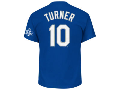 Los Angeles Dodgers Justin Turner 2017 MLB Men's World Series Patch Official Player T-shirt