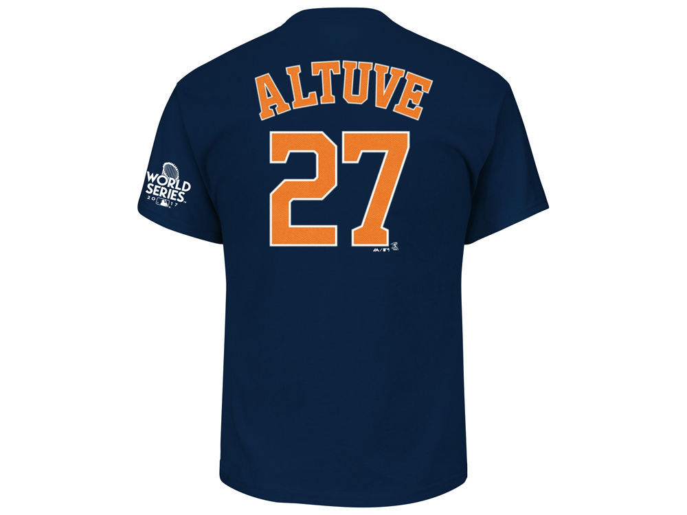 5b3752594 Houston Astros Jose Altuve Majestic 2017 MLB Men s World Series Patch Official  Player T-shirt