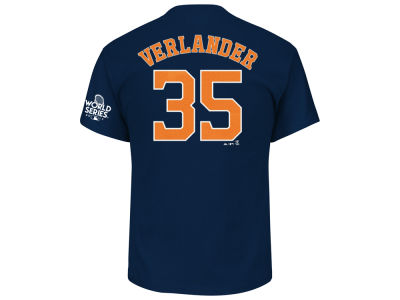 Houston Astros Justin Verlander Majestic 2017 MLB Men's World Series Patch Official Player T-shirt