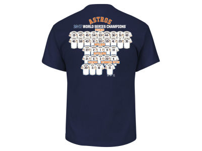 Houston Astros Majestic 2017 MLB Men's World Series Champ Roster Of Jerseys T-Shirt