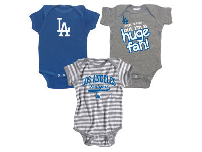 Los Angeles Dodgers Soft As A Grape MLB Newborn Huge Fan 3 pc Set